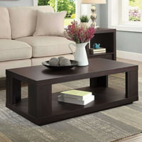 BHG Steele Coffee Table with Spacious Lower Shelf, Espresso