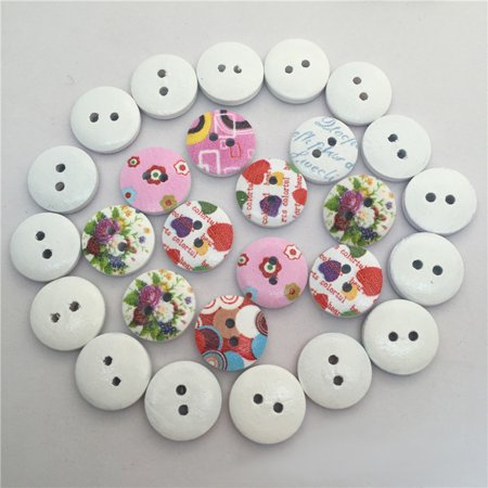 Ustyle 100Pcs/bag Wood Cute Cartoon Animal Buttons Sewing Children Buttons Clothes Ornament DIY Making - image 3 of 6