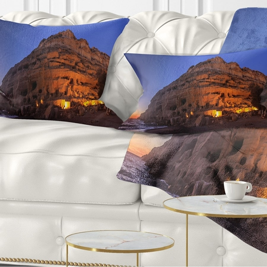 Design Art Designart Sunset On The Matala Beach Greece Seashore Throw Pillow Walmart Com Walmart Com