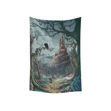 PHFZK Spooky Castle Wall Art Home Decor, Happy Halloween Tapestry Wall Hanging 40 X 60 Inches](Halloween Tapestry)