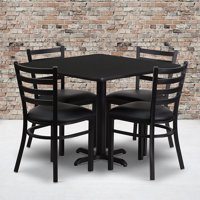 36SQ Black Table Set-X-Base & 4 Ladder Back Chairs,Black Seat