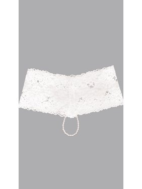 4b3442ac3edc Product Image Plus Size Cheeky Lace Pearl String Boyshort, Pearl String  Panties