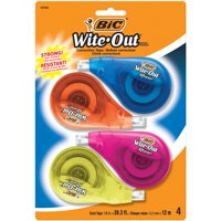 BIC Wite-Out Brand EZ Correct Correction Tape, White Tape, Applies Dry For Instant Fixes, Colorful Dispensers, 4 Count