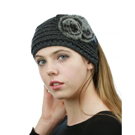 NYFASHION101 Hand Knitted Furry Flowers Winter Headband Headwrap  - NAG324Y, Dark Gray (Headband Flowers)