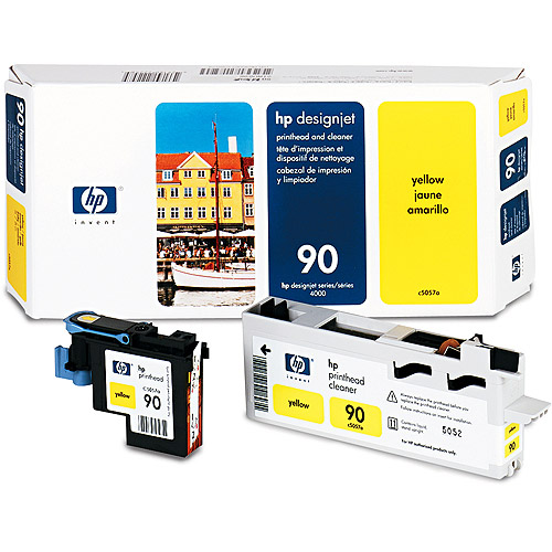 HP C5057A (HP90) Print Head & Cleaner, Yellow