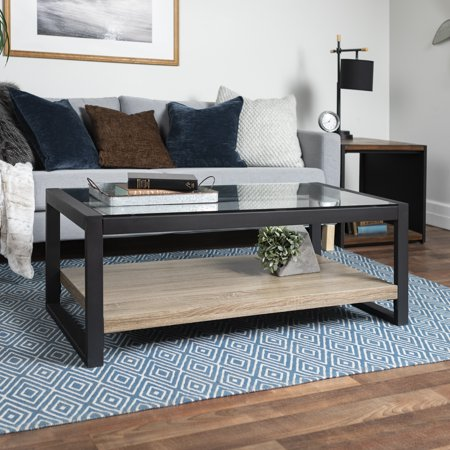 Walker Edison Rustic Wood and Glass Coffee Table - Driftwood