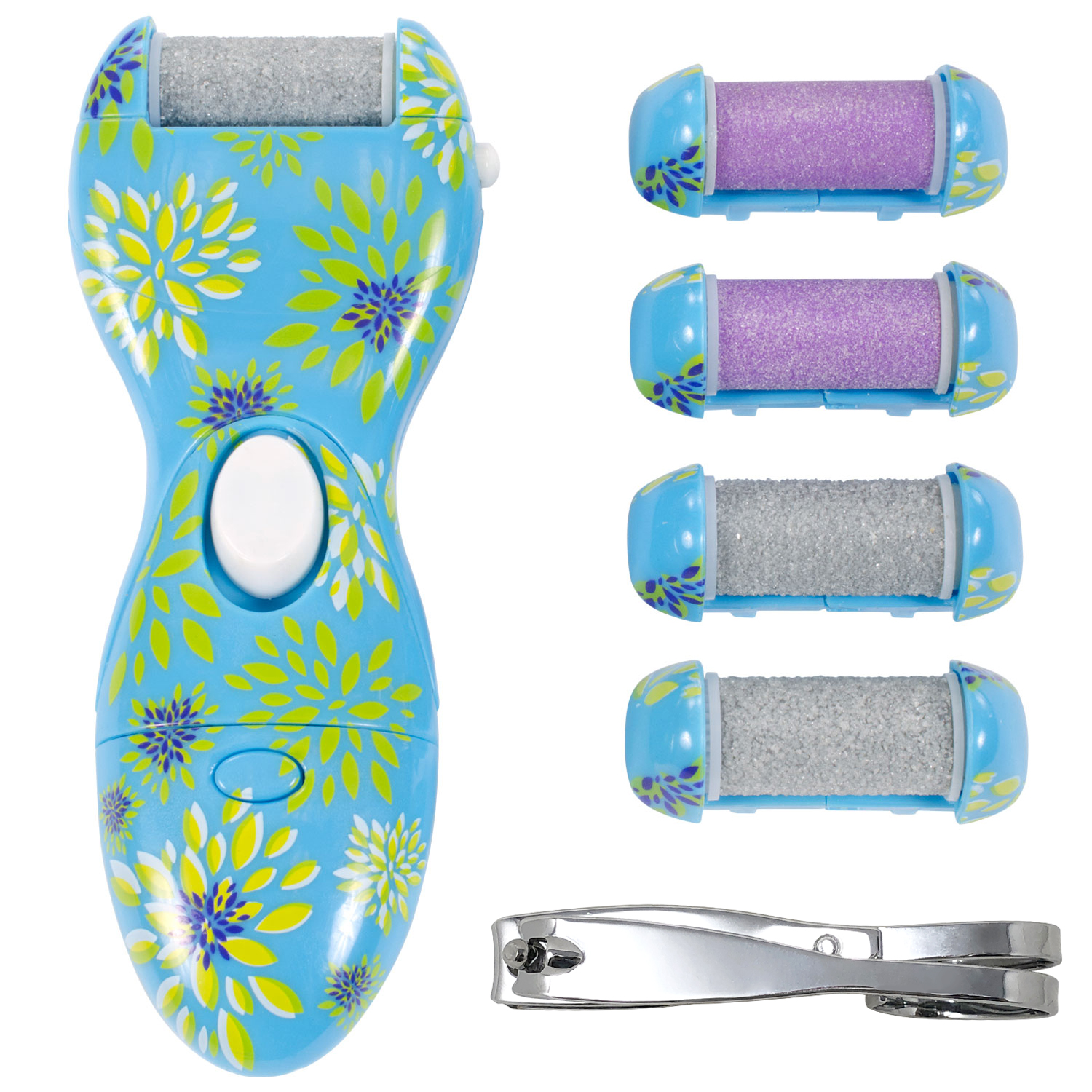 Ped Egg Power Platinum Deluxe Callus Remover with 4 Roller Heads and Nail Clipper