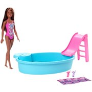 Barbie Estate Playset with Brunette Barbie Doll, Pool, Slide & Accessories