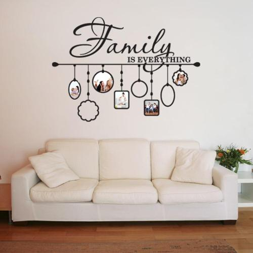 Family Picture Frame Deco Vinyl Wall Art 31in x 23in Silver