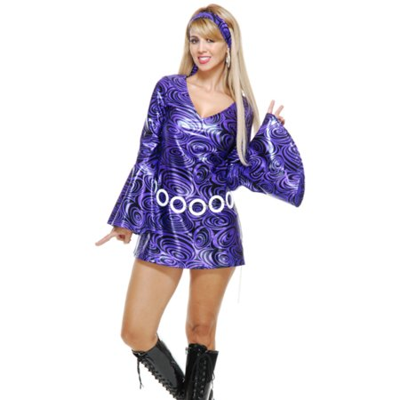 Womens Purple Swirl Disco Diva Short Skirt Dress 70's Dance - Costumes For Short Women