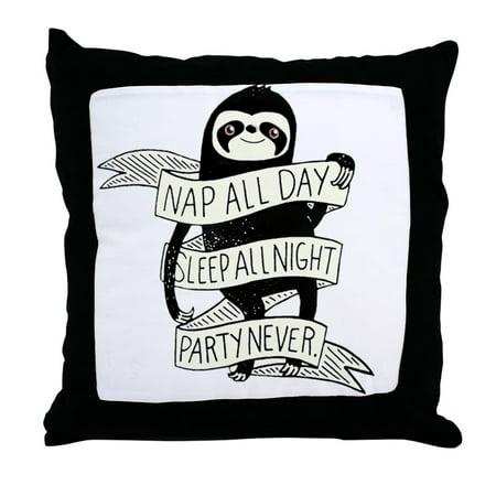 CafePress - Nap All Day Sleep All Night Party Nev - Decor Throw Pillow