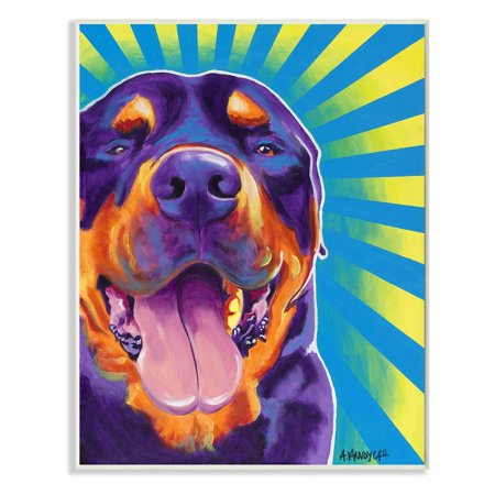 Rottweiler On Bright Colors Graphic Art Dog Wall Plaque