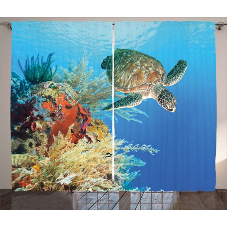 Turtle Curtains 2 Panels Set, Colorful Underwater with Turtle Swimming Among the Coral Reef Scenic Exotic View, Window Drapes for Living Room Bedroom, 108W X 84L Inches, Multicolor, by Ambesonne