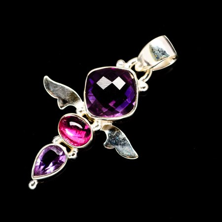 Faceted Amethyst, Pink Tourmaline 925 Sterling Silver Pendant 1 1/2