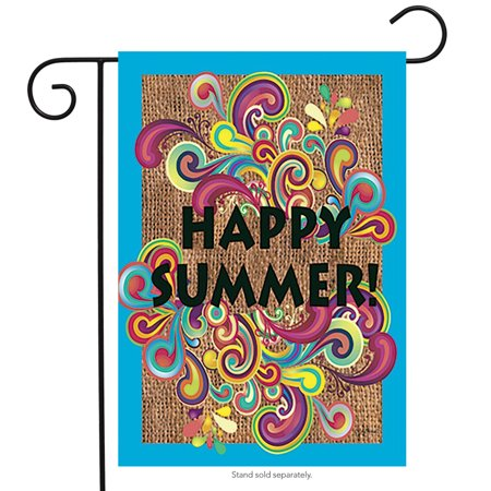 happy summer swirls garden flag seasonal 12.5