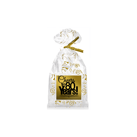 CakeSupplyShop Item#080CTC 80th Birthday / Anniversary Cheers Metallic Gold & Gold Swirl Party Favor Bags with Twist Ties