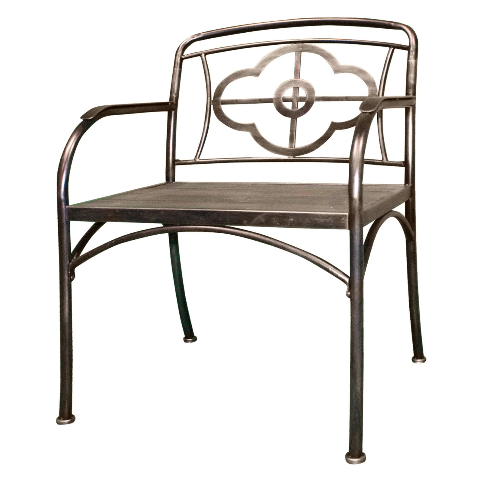 HomeGig Clover Metal and Wood Outdoor Chairs - Set of 2