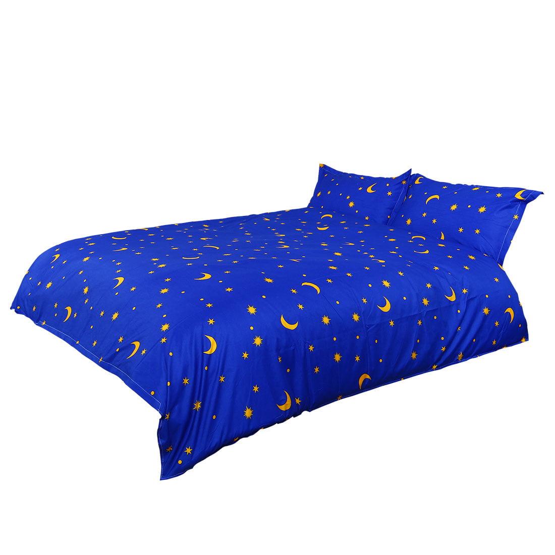 Home Bedroom Moon Stars Pattern Duvet Cover Pillowcase Bedding Set