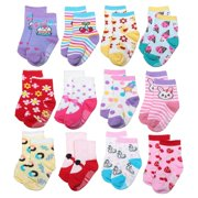 ShoppeWatch 12 Pairs Baby Toddler Socks with Grips Anti-Slip Non-Skid Grippers For Kids Infant Babies Girls 2T and 3T Walkers 12-24 and up to 36 Months