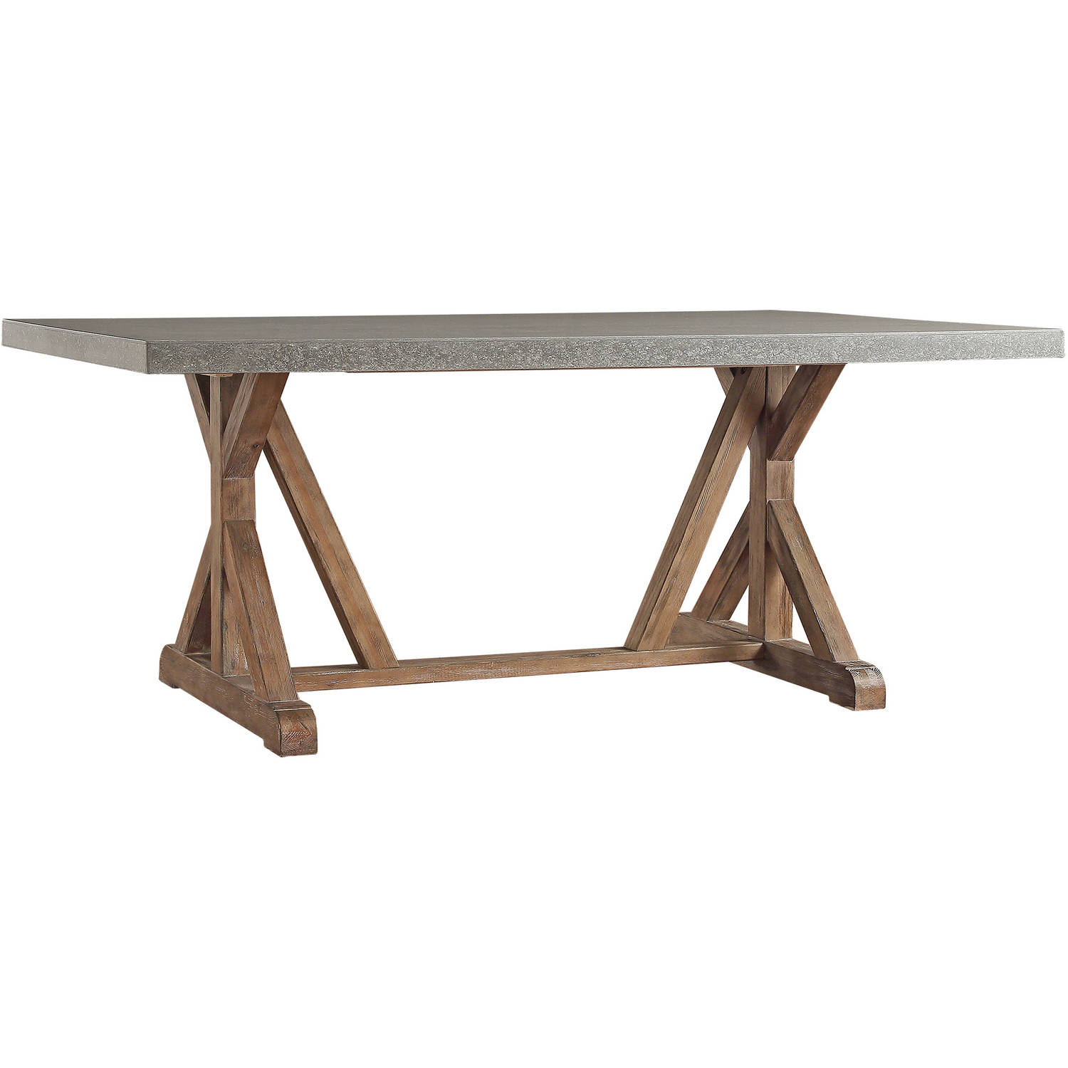 Weston Home Rectangular Concrete Top Dining Table, Brown And Concrete