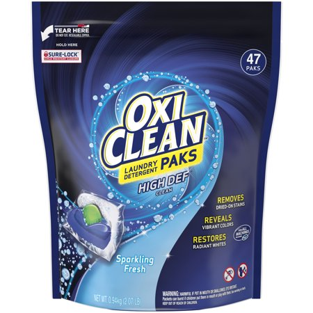 OxiClean High Def Clean Sparkling Fresh Laundry Detergent Paks, 47 Count