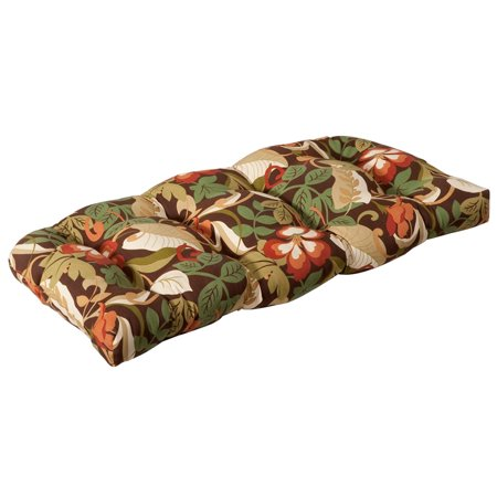 Outdoor Patio Furniture Wicker Loveseat Cushion - Floral Cafe ()