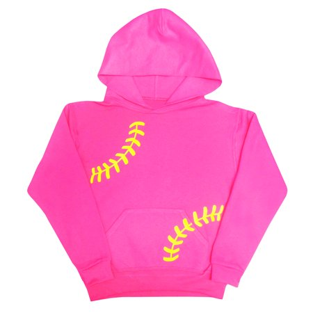 Zone Apparel Softball Girl's Youth Softball Hoodie Sweatshirt- Pink with Laces