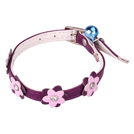 Cute Purple Neck Collar w/ Flower Design & Bell for Pet Dog Puppy Cat - Small
