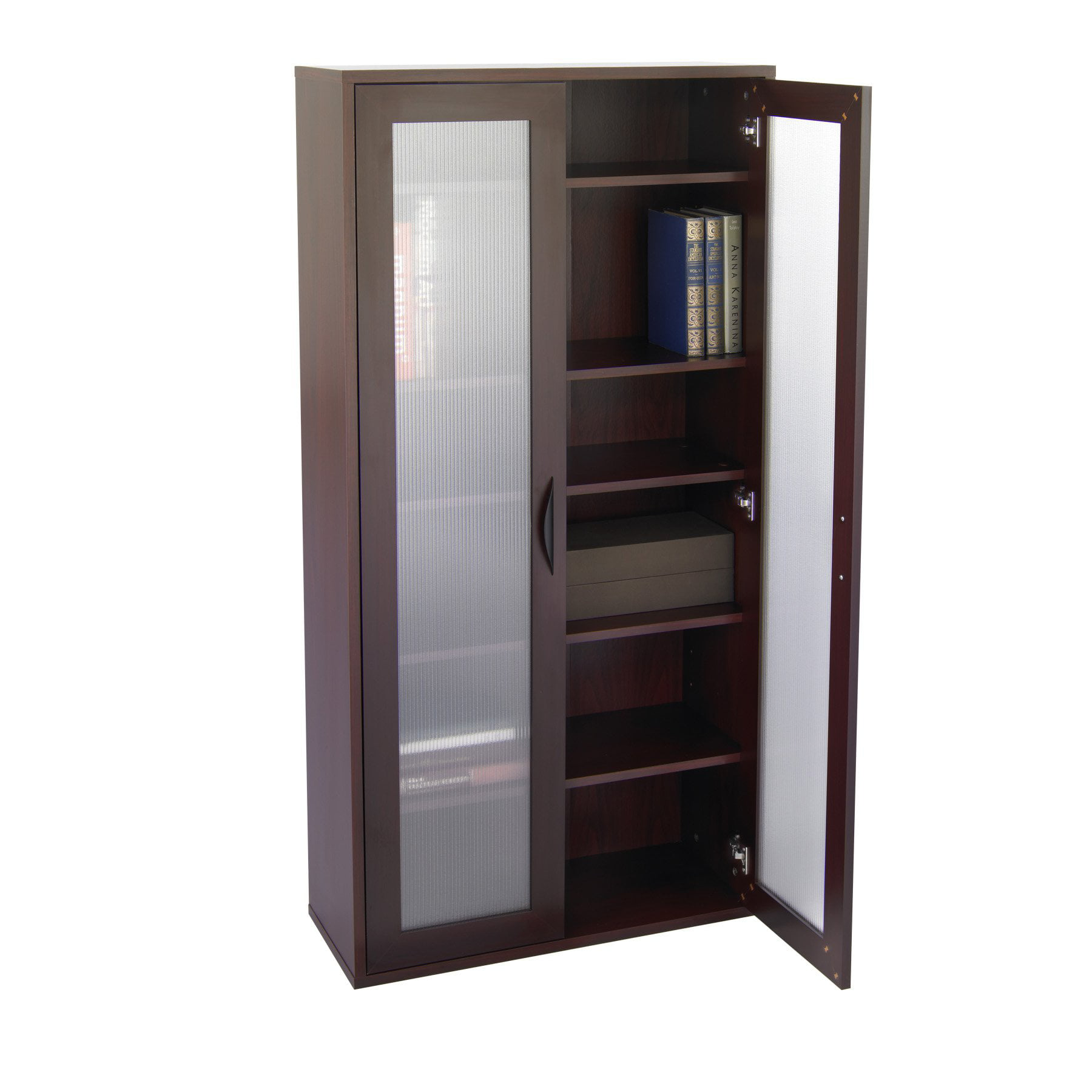 Beau Storage Bookcase With Glass Doors Tall   Mahogany   Walmart.com