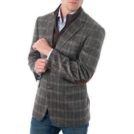 Big Men's Tan and Black Glen Plaid Wool Blend Blazer with Removable Bib