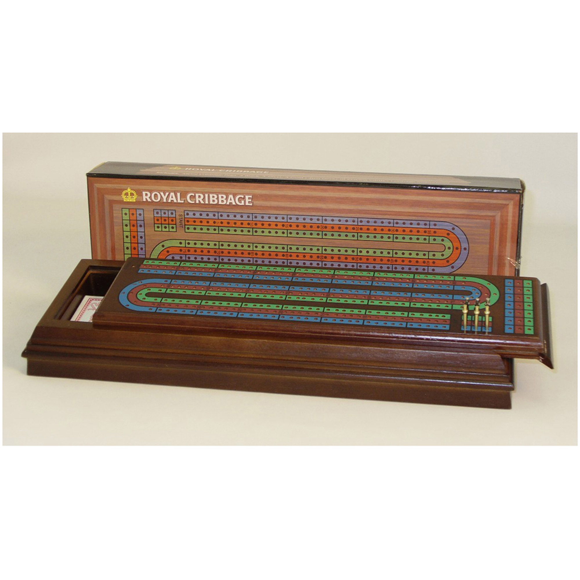 Worldwise Imports Walnut Stained Cribbage Box, 3-Track