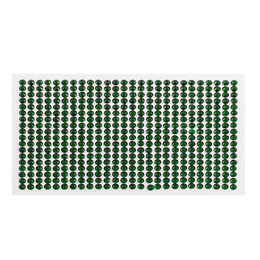 5mm Round Self Adhesive Sparkly Crystal Rhinestone DIY Stickers Green