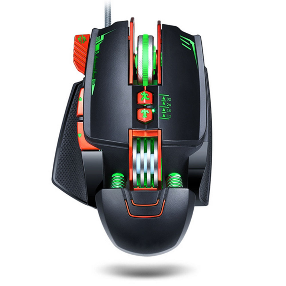 Comfortable Full-Size Mouse 3200 DPI and 4 Programmable Buttons Plug and Play White Gaming Mouse DPI 4-Speed Adjustment 4-Color Breathing Light