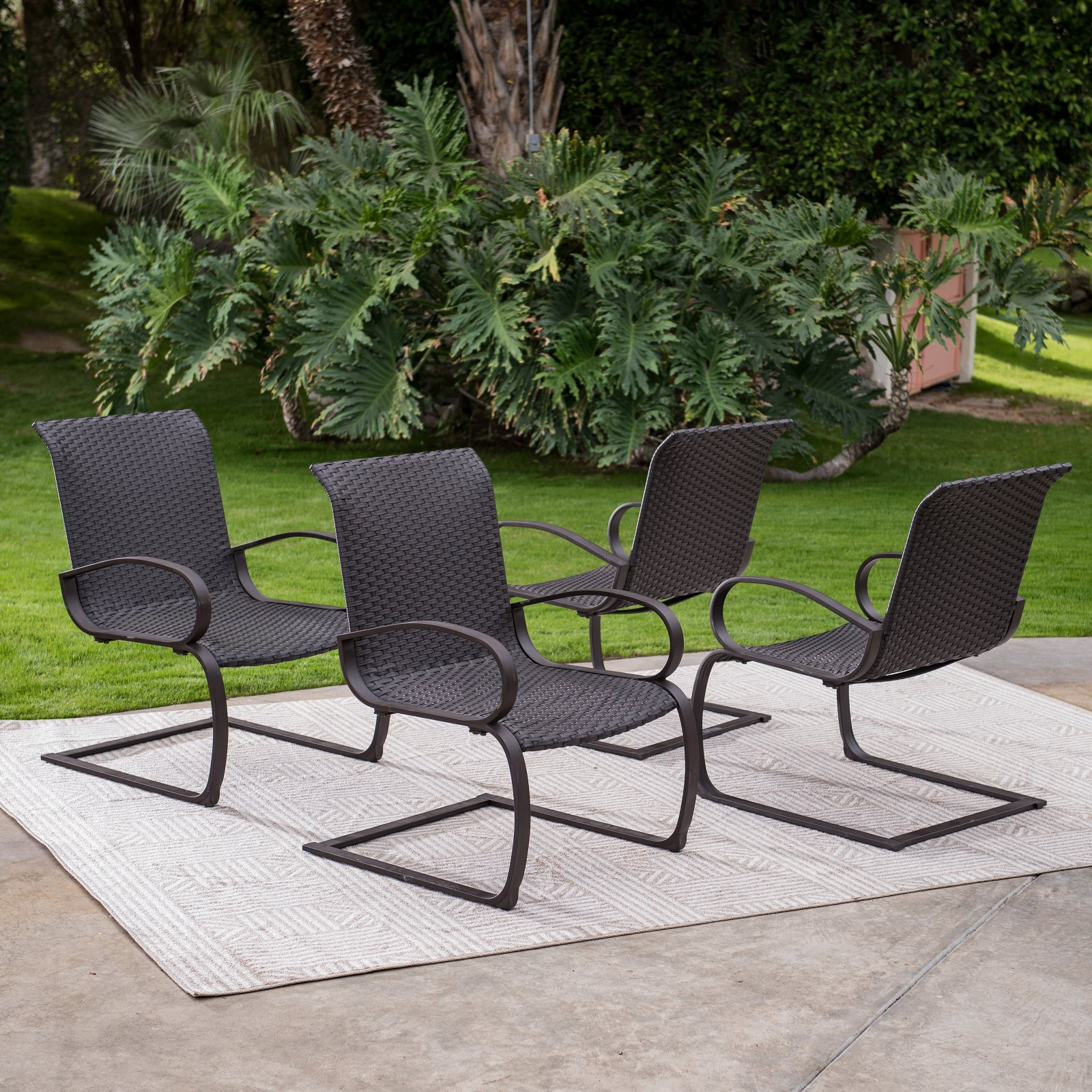 Coral Coast Baja Outdoor All Weather Wicker C Spring Lounge Chairs   Set Of  4