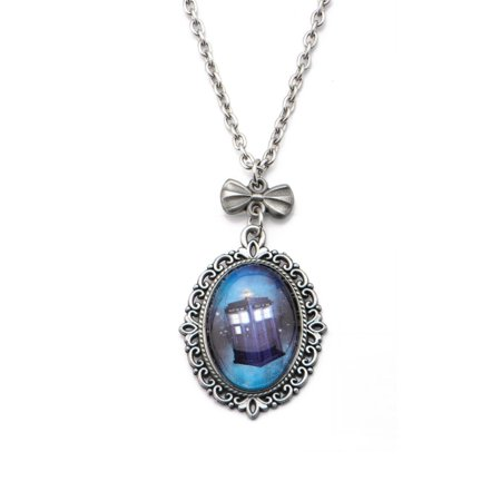 Doctor Who Tardis Cameo Necklace Cameo Sterling Silver Setting
