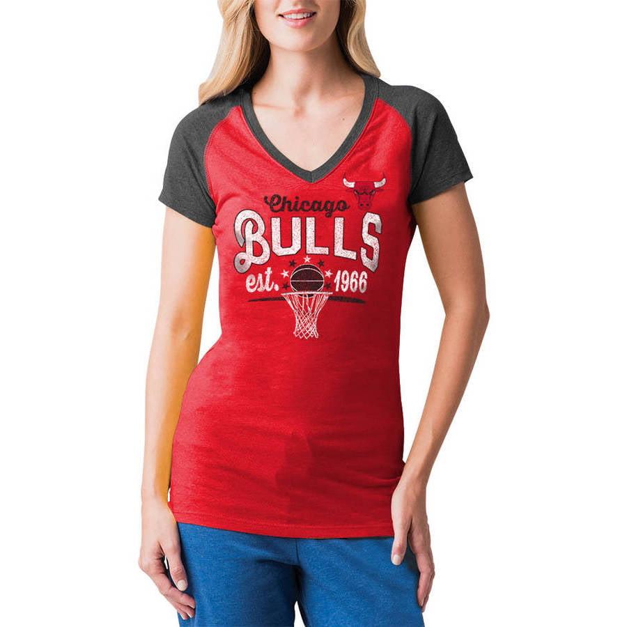 NBA Chicago Bulls Women's Short Sleeve Raglan V Neck Tee