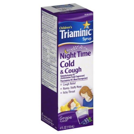 3 Pack Children's Triaminic Syrup Night Time Cold & Cough Grape Flavor 4oz Each