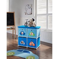 Altra Kids' 4-Bin Canvas Storage Unit, Blue with Car Theme