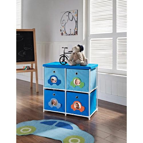 Altra Kids' 4-Bin Canvas Storage Unit, Blue with Car Theme