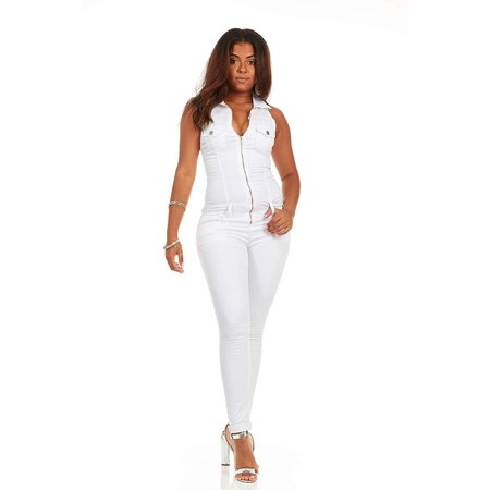 24f4dbb3dacb V.I.P. JEANS - Skinny Sleeveless Slim Fit Stretch Jumpsuit Romper Long  Jeans Junior Size 7 Black White Denim - Walmart.com
