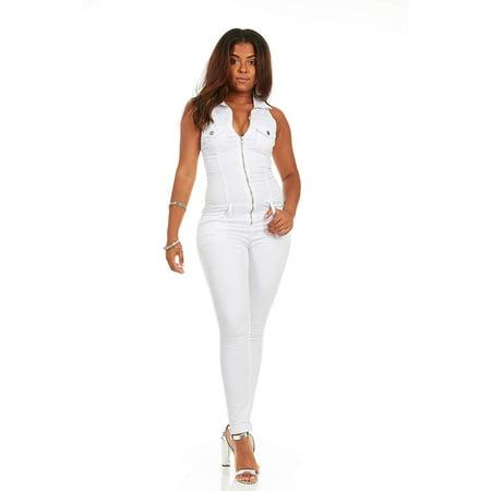 Skinny Sleeveless Slim Fit Stretch Jumpsuit Romper Long Jeans Junior Size 7 Black White - Black White Denim