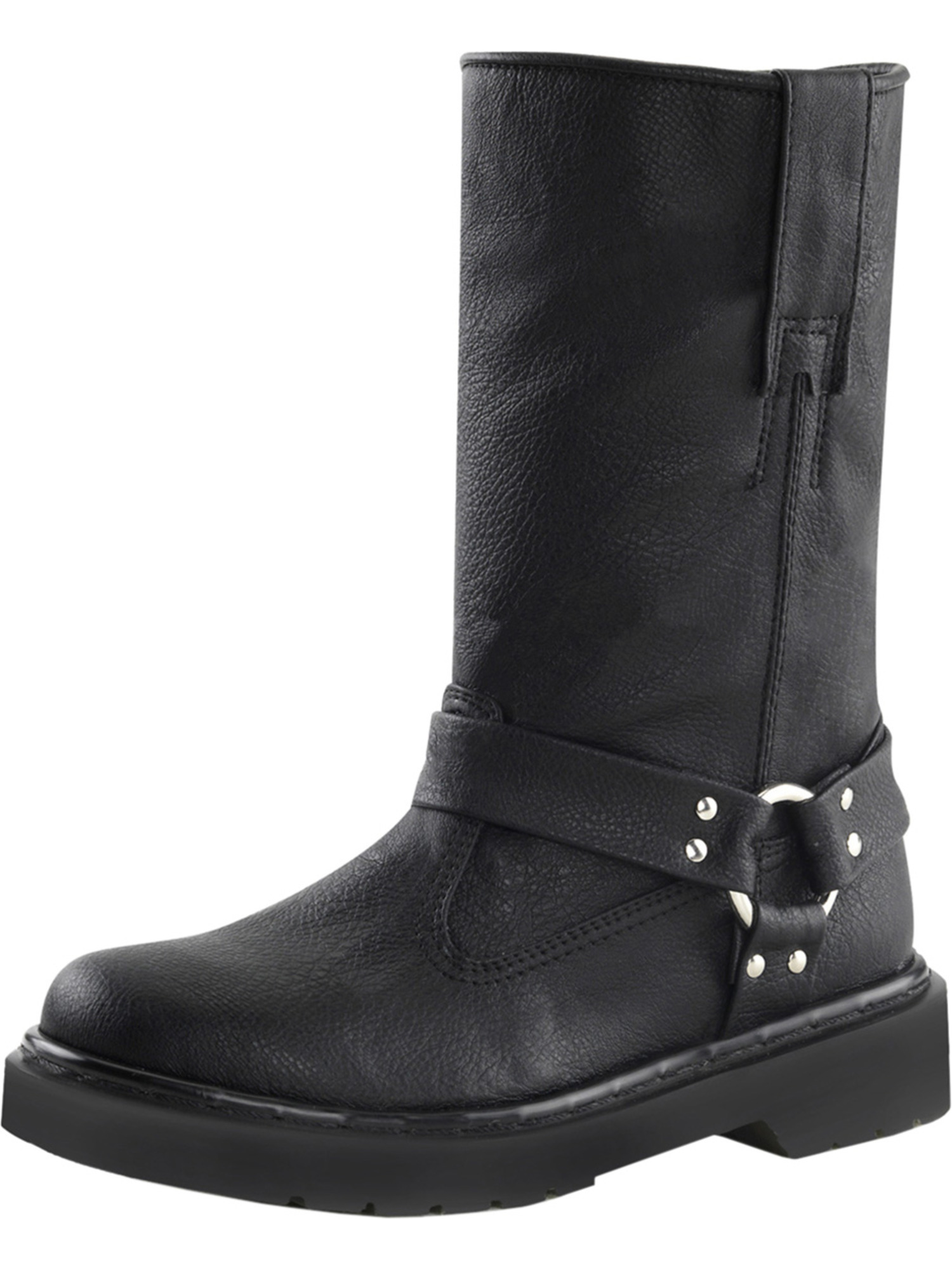 Womens Black Motorcycle Boots Vegan Leather Calf Boots Studs 1 1/4 Inch Heel