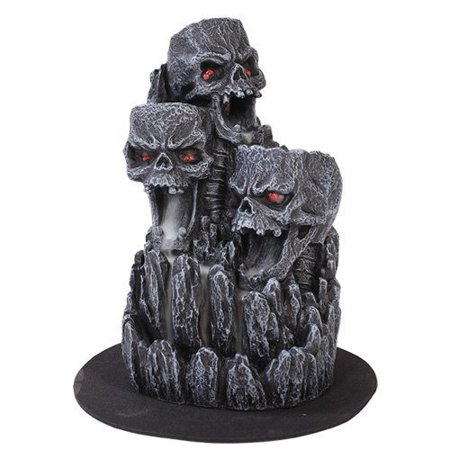 Pacific Trading Giftware Skull Heaped Hill Backflow Incense Holder Burner Figurine Made of Polyresin