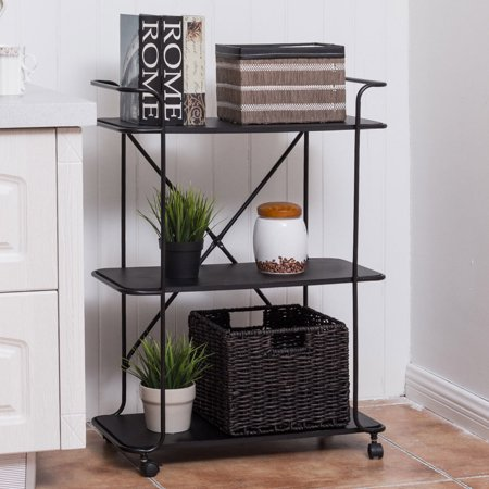 Costway 3 Tier Metal Rolling Cart Storage Rack Shelves Display Utility Organizer Black