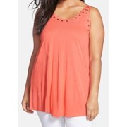 Sejour NEW Orange Coral Rose Women's 1X Plus Tank Cami Studded Top