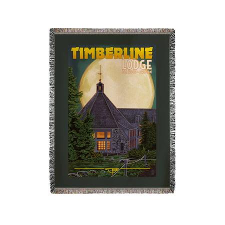 Mt. Hood, Oregon - Timberline Lodge & Full Moon - Lantern Press Artwork (60x80 Woven Chenille Yarn (Timberline Lodge Mt Hood Oregon)