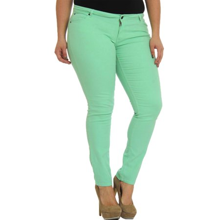 153bf922013 Hey Collection - Hey Collection Juniors Plus-Size Brushed Stretch Twill Low  Rise Pants Skinny Jeans For Women - Walmart.com