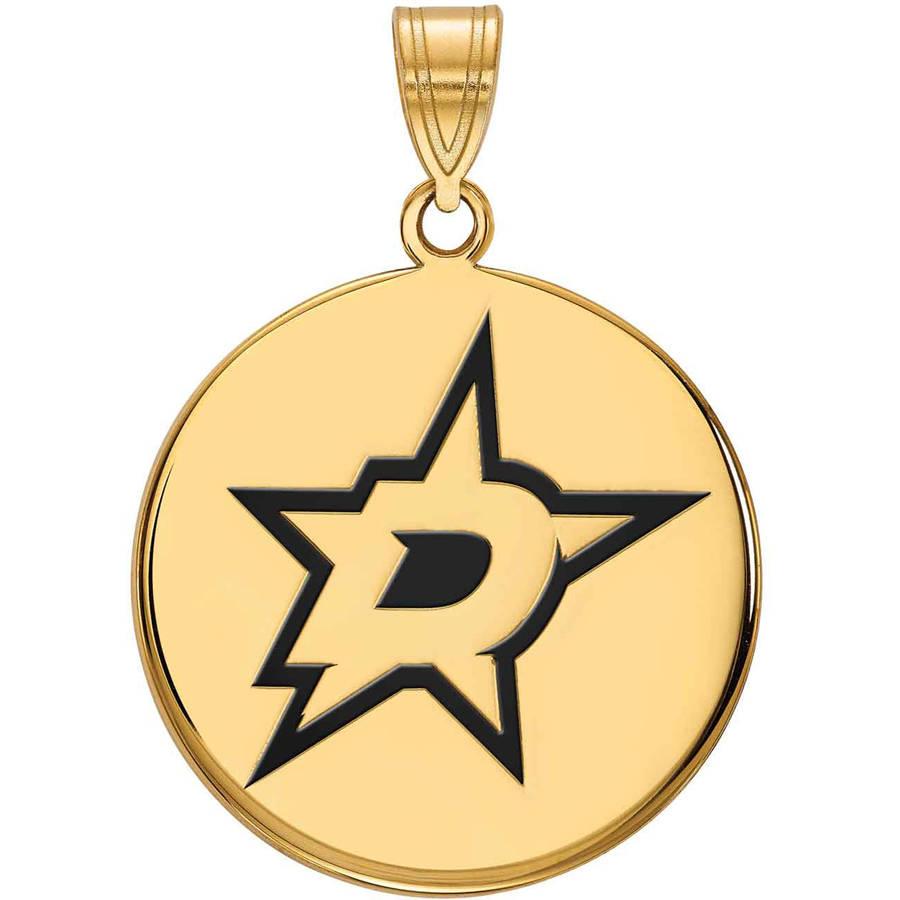 LogoArt NHL Dallas Stars 14kt Gold-Plated Sterling Silver Large Enamel Disc Pendant