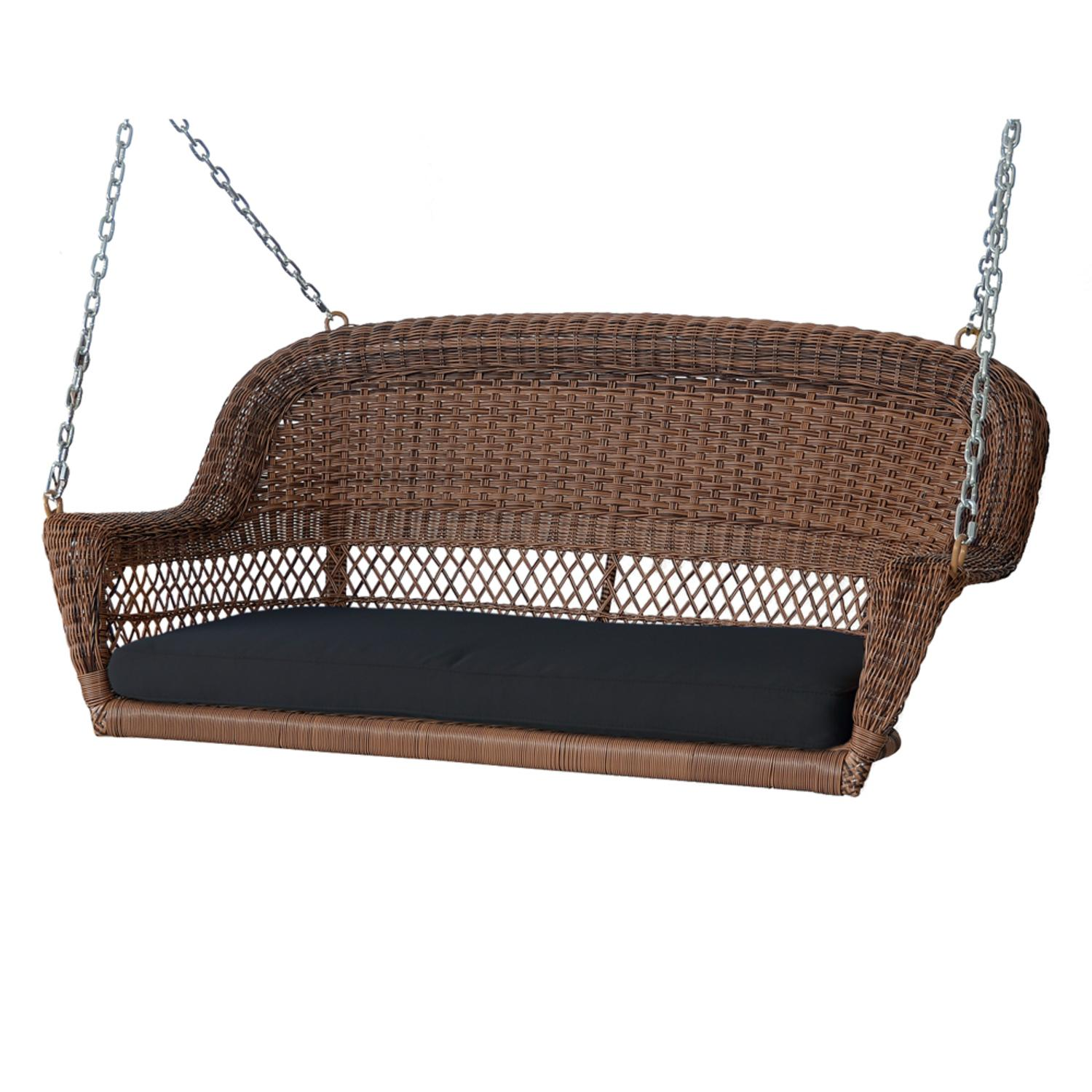"""51.5"""" Hand Woven Honey Brown Resin Wicker Outdoor Porch Swing with Black Cushion by CC Outdoor Living"""