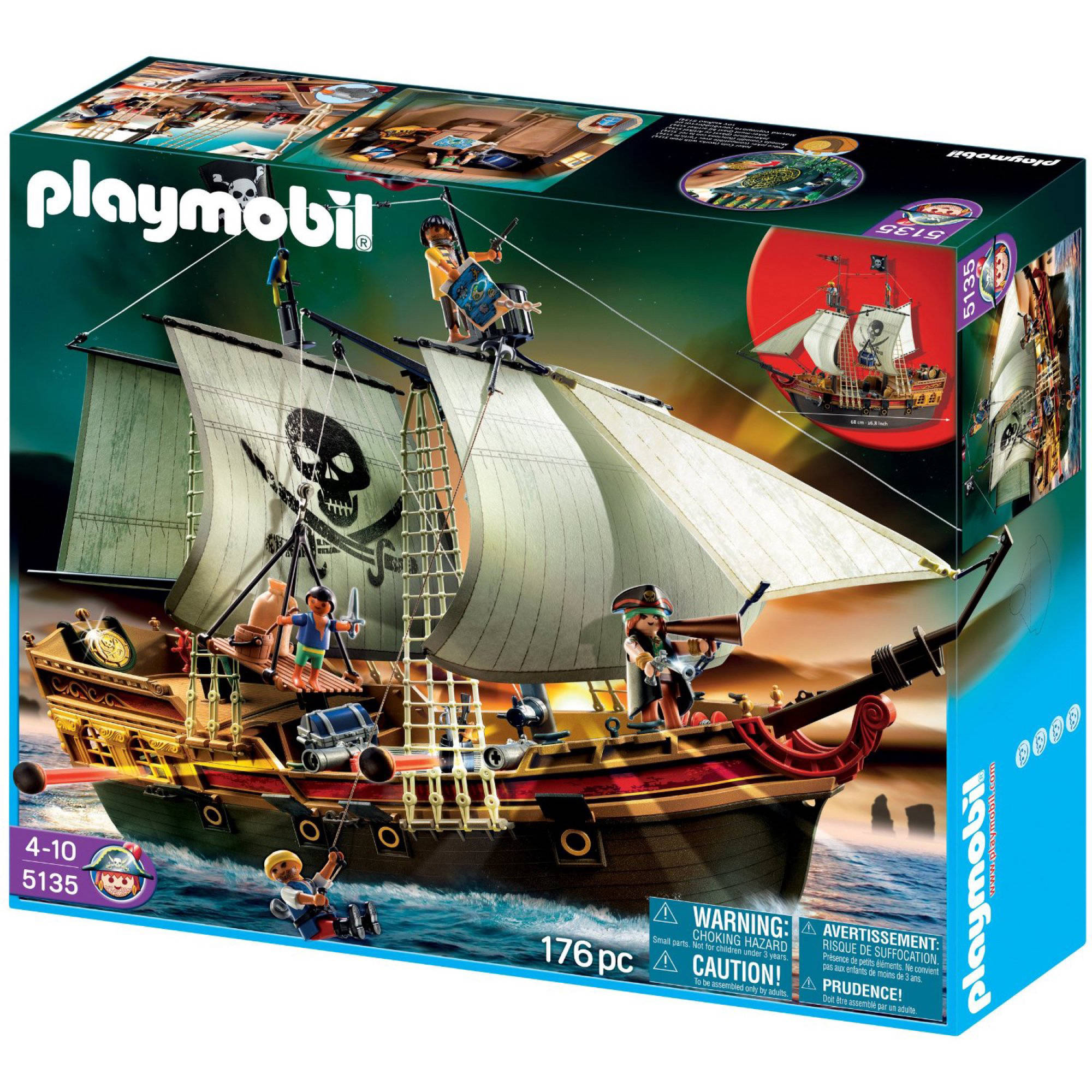 PLAYMOBIL Large Pirate Ship 176 Piece Set by PLAYMOBIL